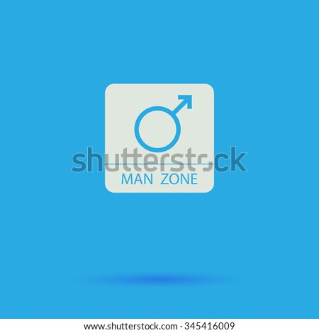 man gender White flat vector simple icon on blue background with shadow  - stock vector