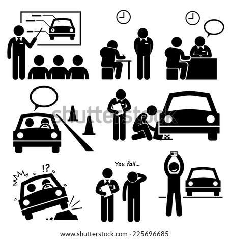 Man Getting Car License from Driving School Lesson Stick Figure Pictogram Icons - stock vector