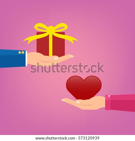Man giving a red gift box to woman couple and woman giving love red heart on pink color. Vector illustration conceptual of love giving in valentine day. - stock vector