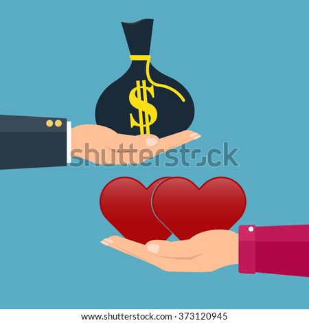 Man giving money to woman couple and woman giving love red heart. Vector illustration conceptual of love giving in valentine day. - stock vector