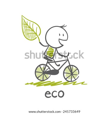 man goes to eco-bike illustration - stock vector