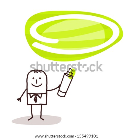 man & green marker space - stock vector