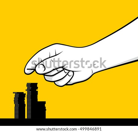 Man hand counting coins