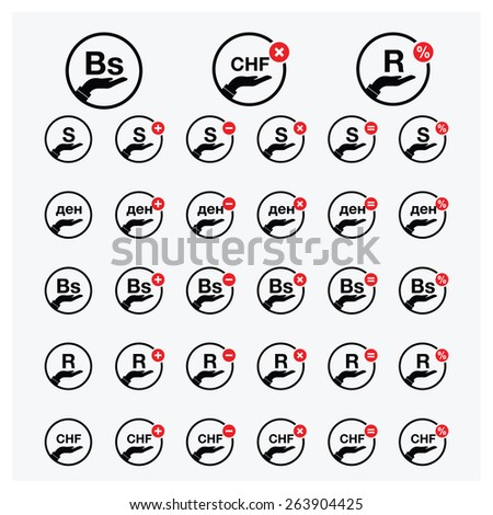 man hand holding currency symbol icon with add and delete red button | all world Currency icons - vector Illustration - stock vector