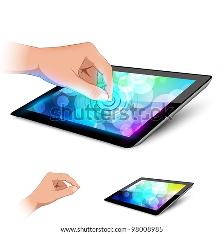 Man hand is touching tablet pc to make gesture. Variant on white background. - stock vector