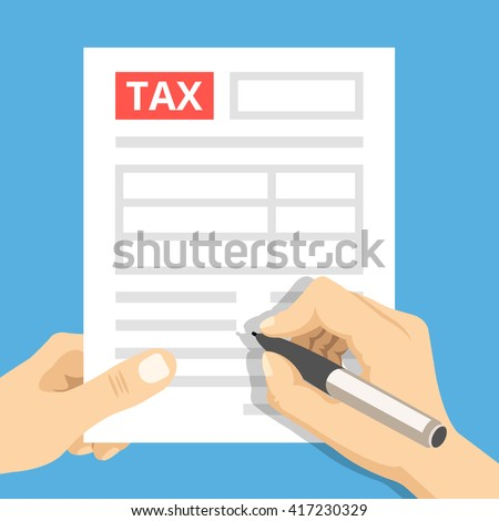 Man hands filling tax form. Hand hold tax form and hand hold pen. Modern concept for web banners, web sites, infographics. Creative flat design vector illustration - stock vector