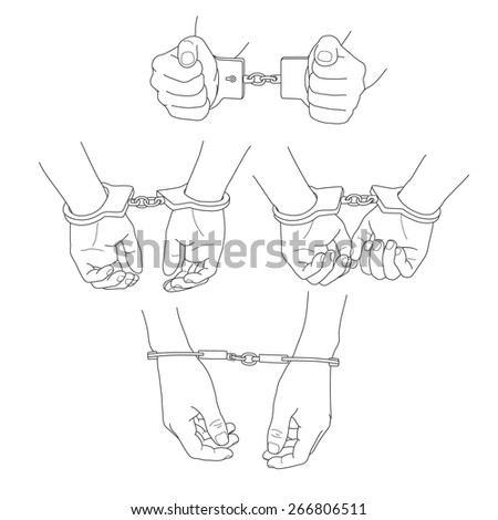 Man hands with handcuffs - stock vector