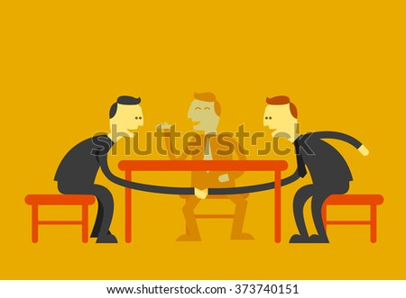 man handshake under the table