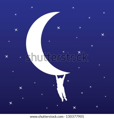 man hanging on the moon vector illustration