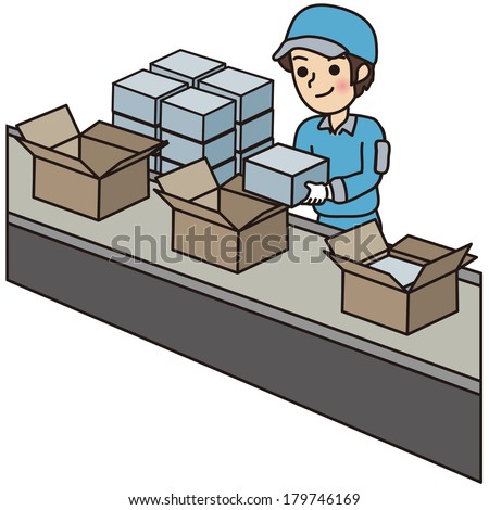 Man have a packing work - stock vector