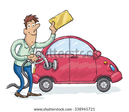 Man have the discount coupon and fills up cheaper fuel into the red car - stock vector