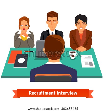 Man having a job Interview with HR specialists and a boss. Flat style vector illustration isolated on white background. - stock vector