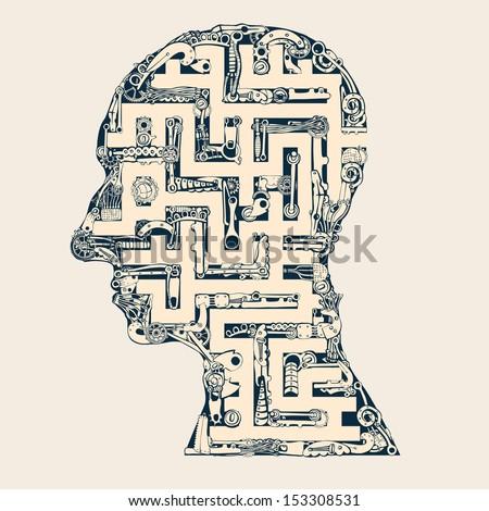 Man head labyrinth. - stock vector