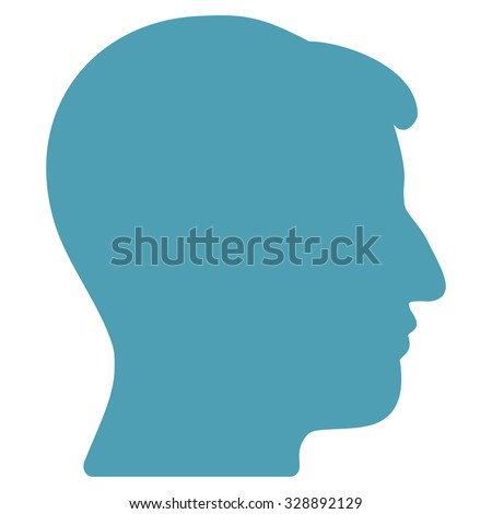 Man Head vector icon. Style is flat symbol, cyan color, rounded angles, white background.