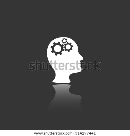 man head with cogwheel gears vector icon with mirror reflection - stock vector