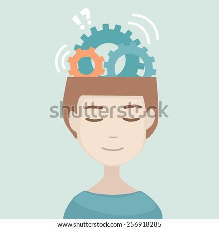 Man head with gears signs. Generation of ideas. Thinking human head. Flat modern design vector illustration.  - stock vector