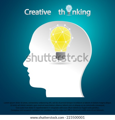 man head with light bulb inside, can be used like infographics, numbered banners etc - stock vector