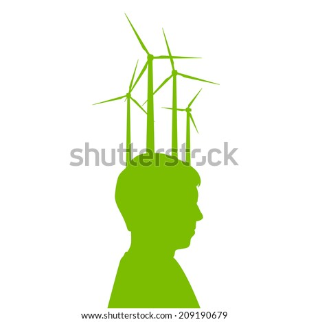 Man head with wind generator green energy, ecology concept background  - stock vector