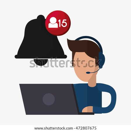 man headphone laptop avatar call center technical service icon. Colorful design. Vector illustration