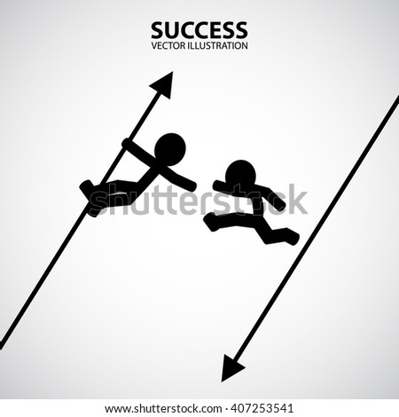 Man help friend. Silhouette Graphic Design. Success Concept. - stock vector
