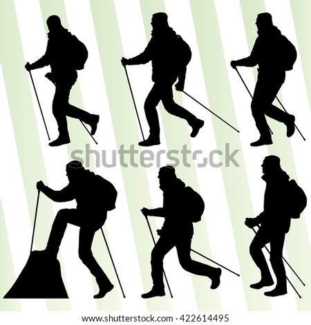 Man hiker Nordic walking with poles vector set collection - stock vector