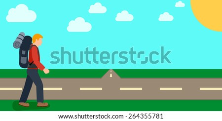 man hiker with backpacks walking near the road hitchhiking traveler concept. vector illustrations - stock vector