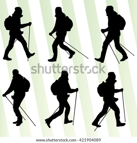 Man hiking adventure nordic walking with poles vector illustration set - stock vector