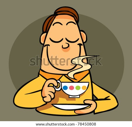 man hold a cup - stock vector