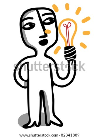 man hold a light bulb - stock vector