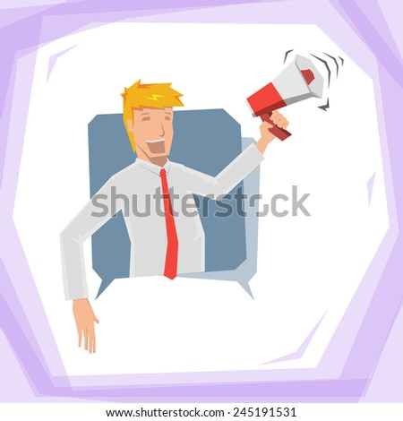 Man hold megaphone - stock vector