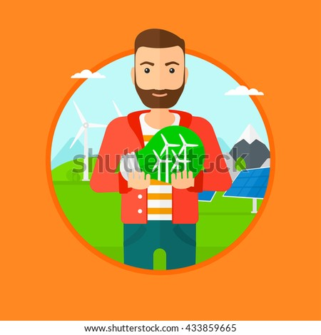 Man holding a big light bulb with small wind turbines inside. Man standing on a background with solar pannels and wind turbines. Vector flat design illustration in the circle isolated on background. - stock vector
