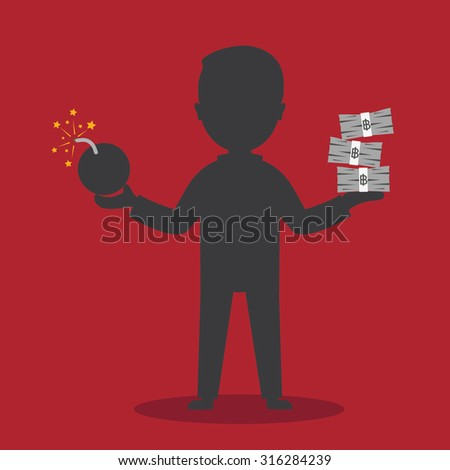 Man holding a bomb in one hand and stacks of money in his other hand - stock vector