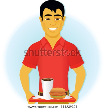 man holding a fast food tray - stock vector
