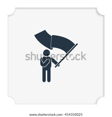 Man holding a flag. - stock vector