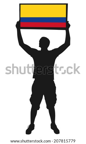 man holding a flag of Colombia, vector  - stock vector