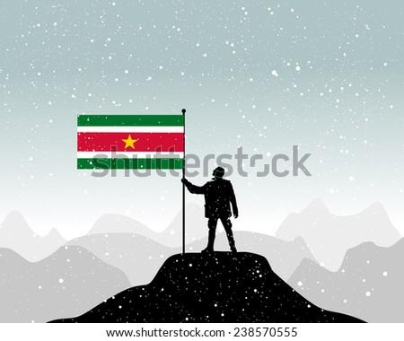 man holding a flag of Suriname, vector  - stock vector