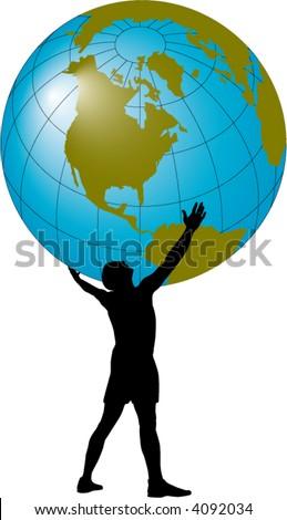 Man holding a globe overhead - stock vector