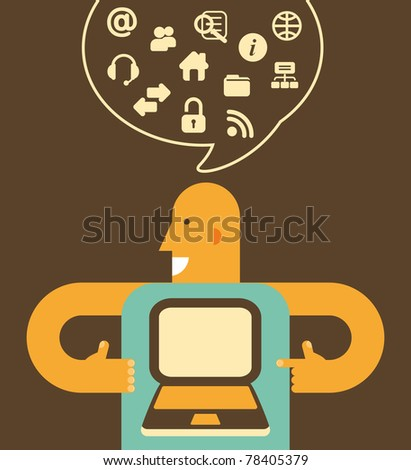 Man holding a laptop. Above his head - set of computers and internet icons - stock vector