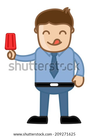 Man Holding a Lolly Ice Cream - stock vector