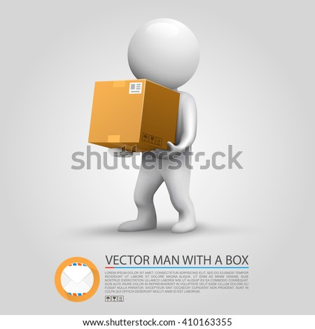 Man holding a parcel. Vector illustration - stock vector