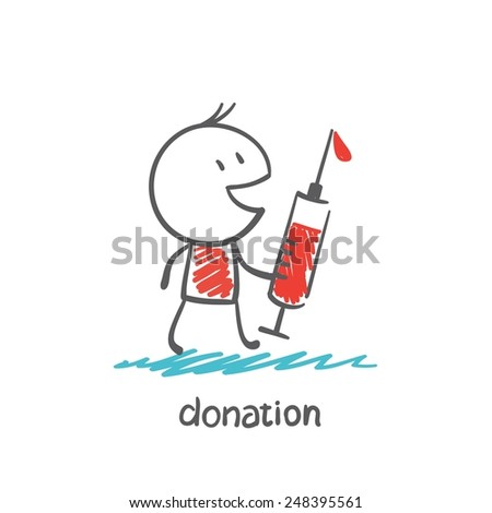 man holding a syringe with blood illustration - stock vector