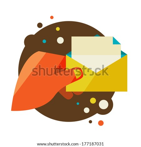 Man holding an envelope with a letter. Flat design modern vector illustration stylish colors of hand holding a business card and hand holding a coin - stock vector