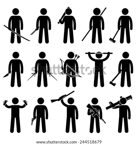 Man Holding and Using Weapons Stick Figure Pictogram Icons - stock vector