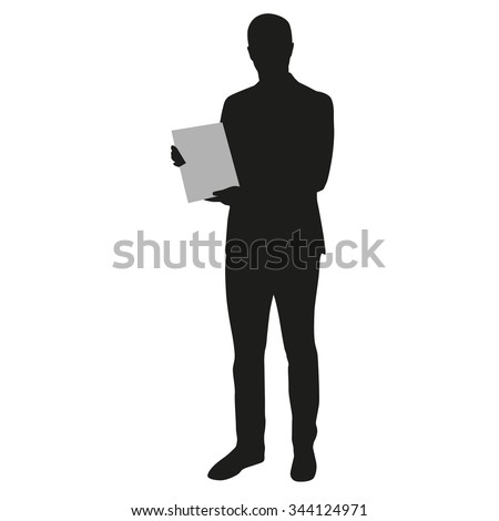 Man holding blank board, banner. Presentation, vector silhouette - stock vector