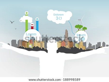 Man Holding City on Shoulders with Infographic Elements - Vector Illustration - stock vector