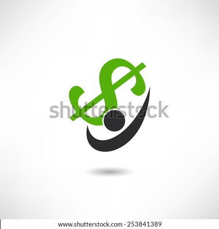 Man holding dollar icon - stock vector