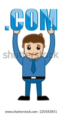 Man Holding Dot Com Text - Cartoon Vector - stock vector