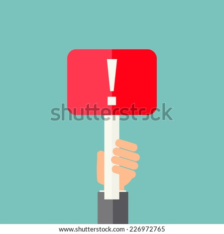 Man holding exclamation mark. Attention sign icon. Hazard warning symbol, vector illustration  - stock vector