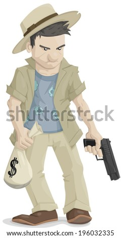 Man holding money bag and gun and wearing a hat