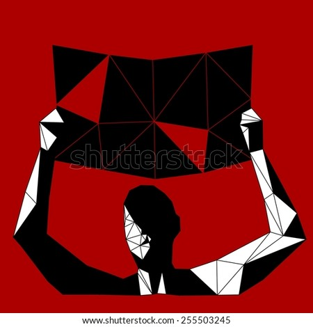 Man holding protest sign - stock vector